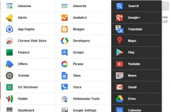 Open All Google Services in Single Click With Black Menu Chrome