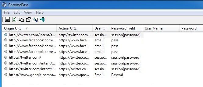 ChromePass: Google Chrome Password Recovery Tool
