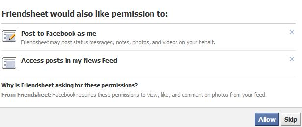Friendsheet Permission