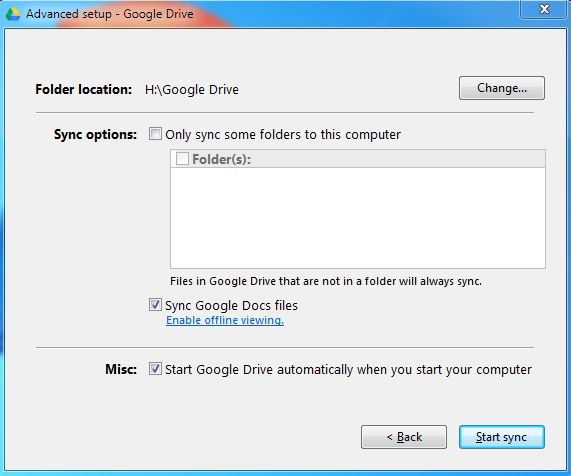 Advance Setup Google Drive