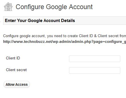 Configure Google Drive Account