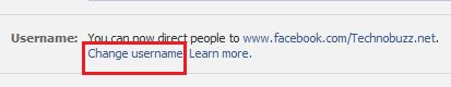 Facebook Page Change Username Option