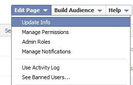 Facebook Page Edit Option