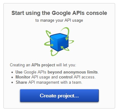 Google APIs Create Project