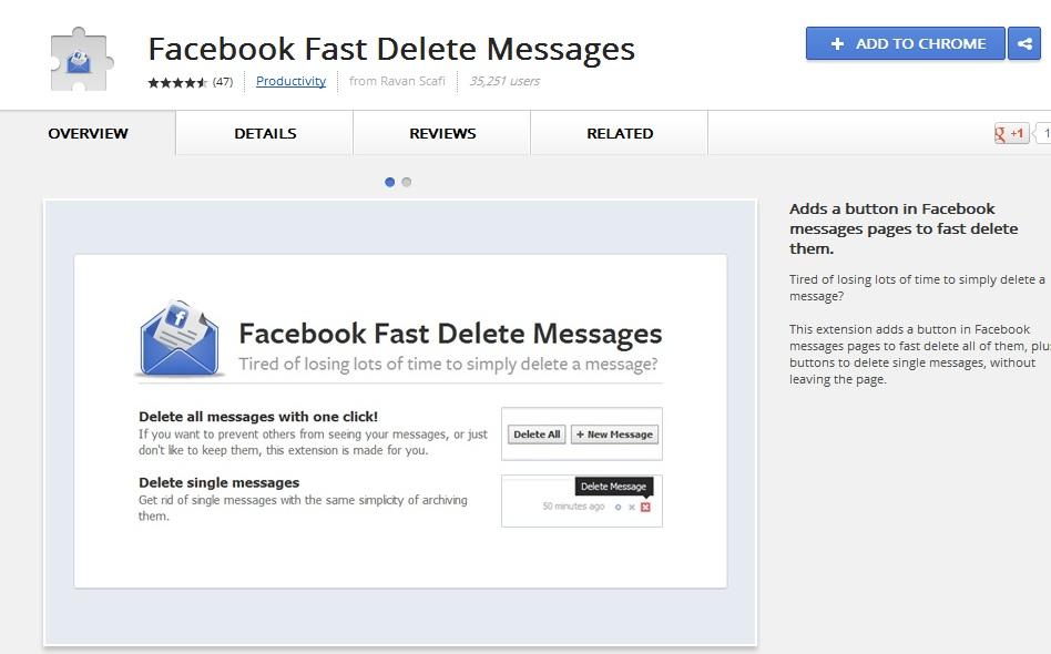 Install Facebook Fast Delete Messages Addon