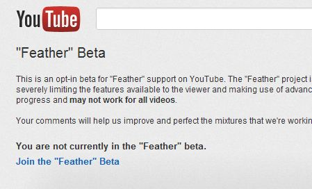 YouTube Feather Beta Page