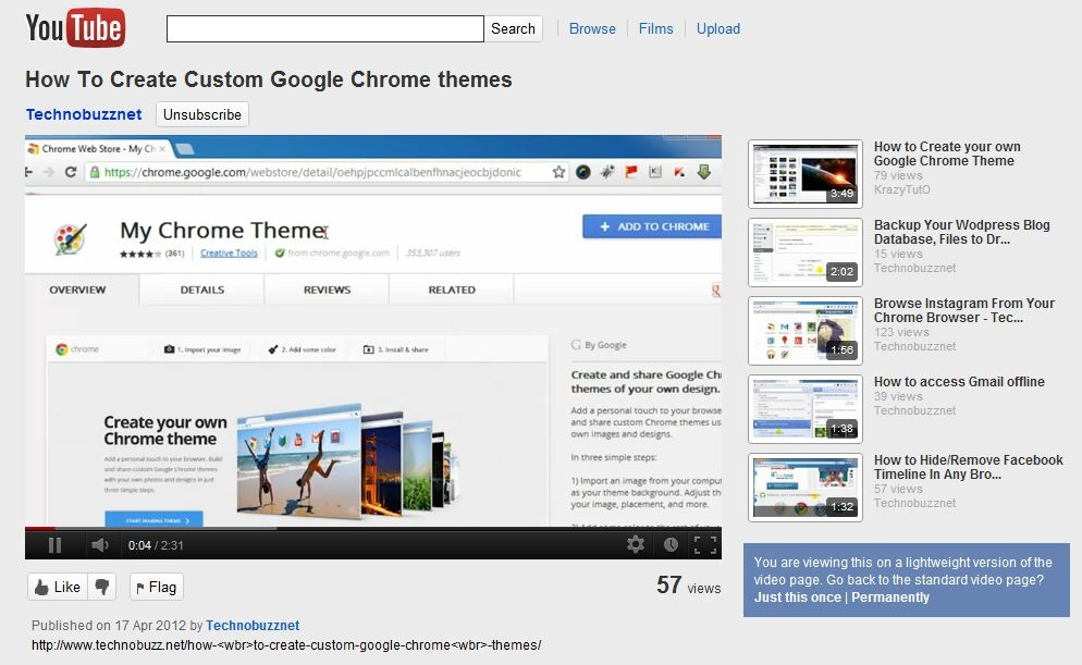 Youtube Feather Page Layout