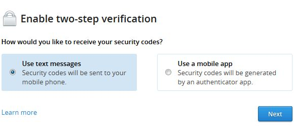 Enable 2 Step Verification