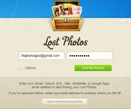 Lost photos login Screen