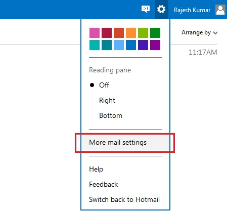 Outlook Mail Settings