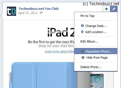 Repositioning Facebook Photos