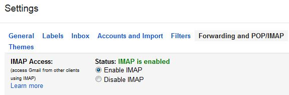 Enable Gmail IMAP Settings