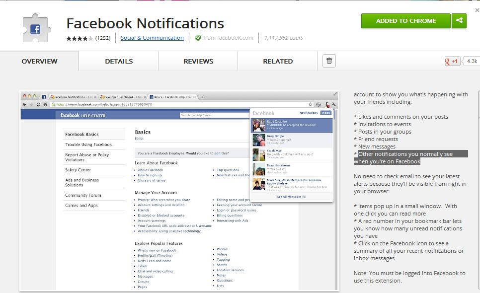 Facebook Notification Chrome Extension