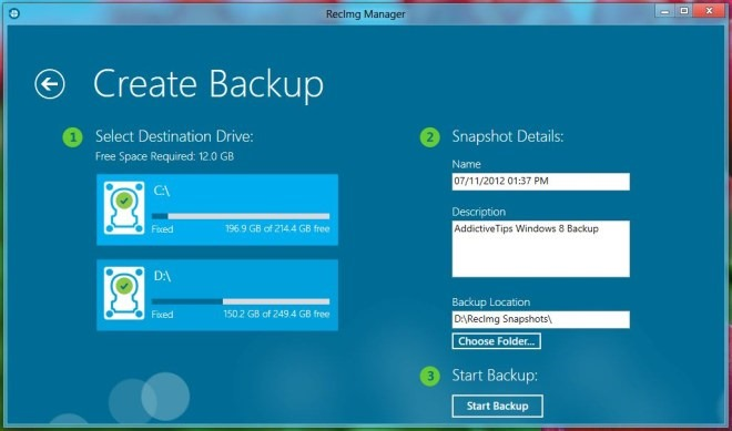 RecImgManager Windows 8 Backup Process