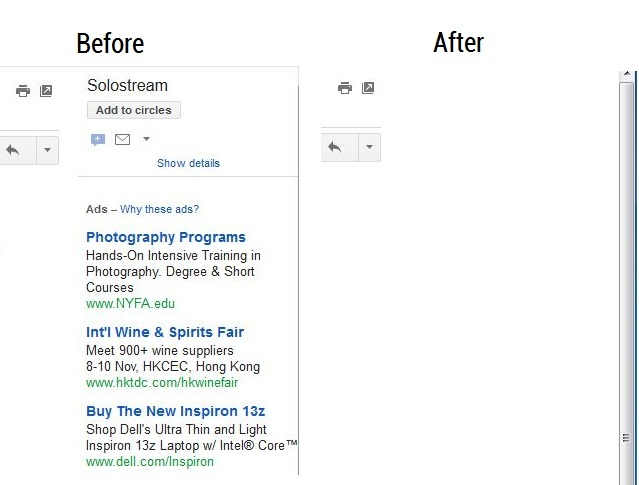 Gmail Ads Before and After