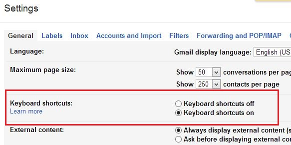 Gmail Keyboard Shortcuts Settings