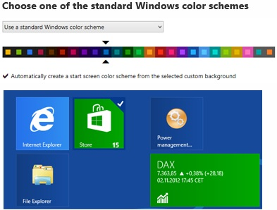 Windows 8 Start Screen Color Schemes
