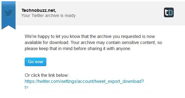 Twitter Archive Download Link