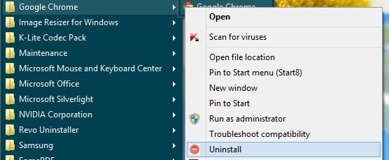 Uninstall App from Start Menu