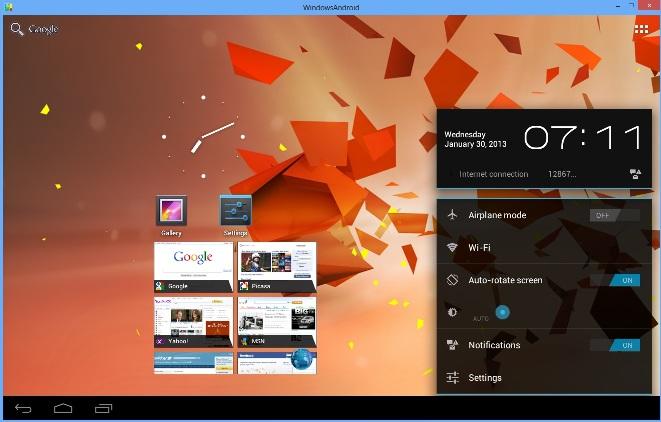 WindowsAndroid Interface