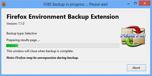 Febe Backup In Process