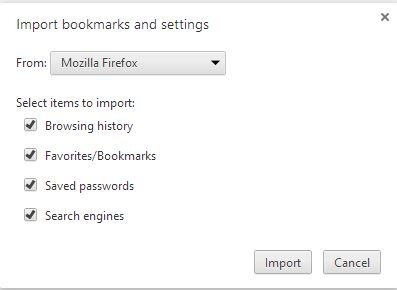 Import bookmarks and settings From Firefox