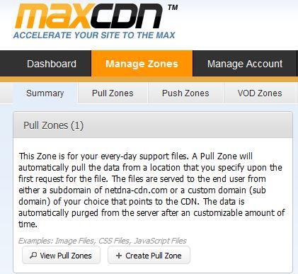 MaxCDN Create Zone
