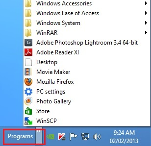 Programs Toolbar