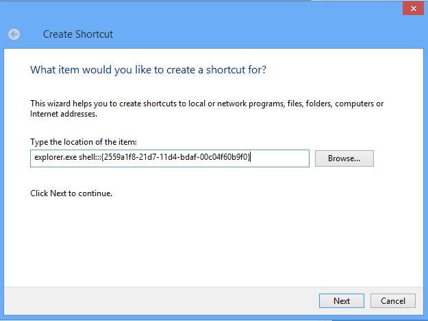 Type Shortcut Link