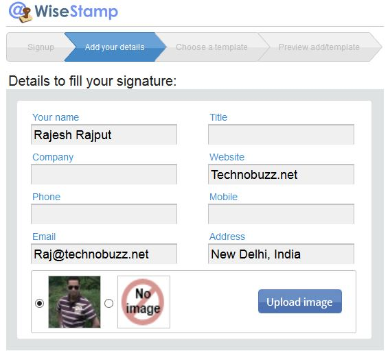 WiseStamp Signature Personal Details
