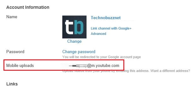 YouTube Mobile Email Address