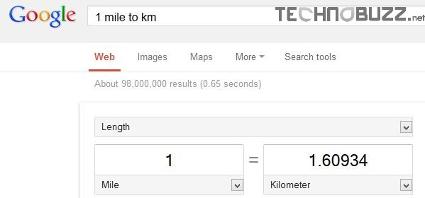 Convert units of measurement in Google Search