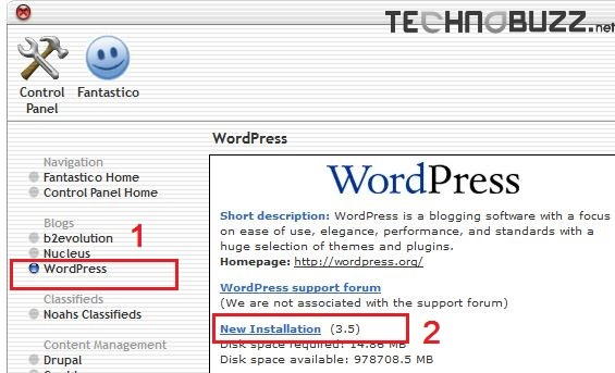 Fantastico WordPress Install