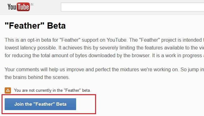 YouTube Feather Beta