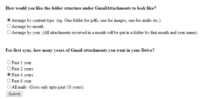 Gmail Attachments to GDrive AutoSync Settings