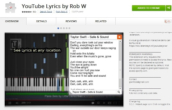 YouTube Lyrics Addon