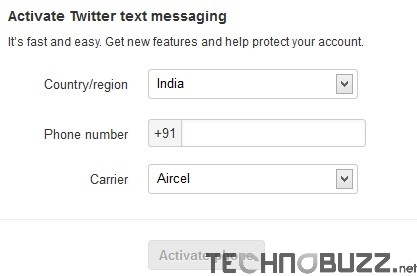 Activate Twitter Text Messaging