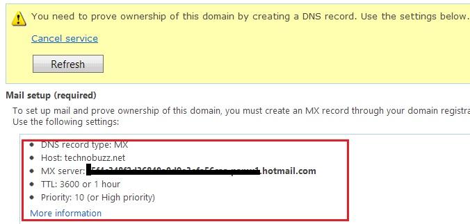 DNS MX records
