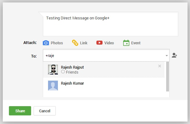 Add friend name in Google Plus