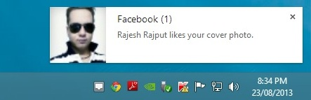 Facebook Notification Popup
