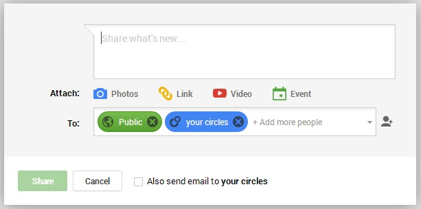 Google Plus Compose Message Box