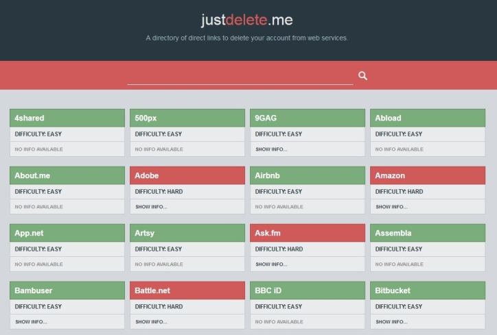 JustDelete.me Helps you to Delete all Your Web Accounts