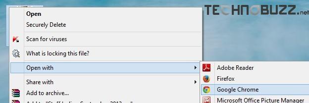 Open PDF file with Google Chrome