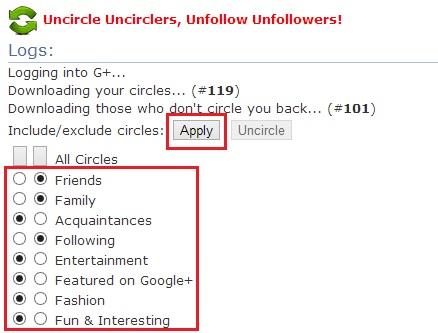 Select Google Plus Circles