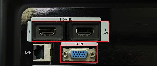 TV HDMI and VGA Ports
