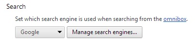 Chrome Browser Search Settings