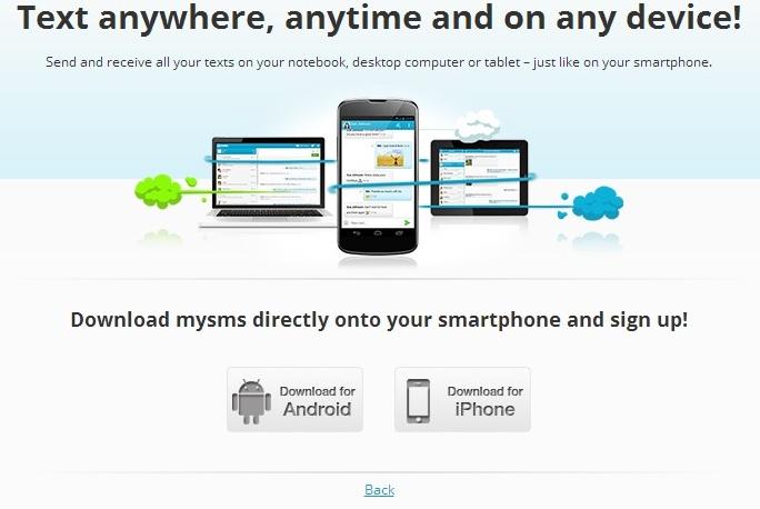 Install Mysms app on phone