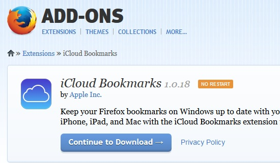iCloud Bookmarks for Firefox
