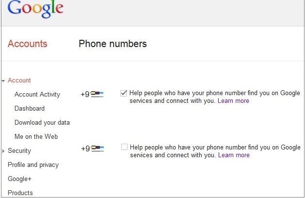 Google Phone Number Settings