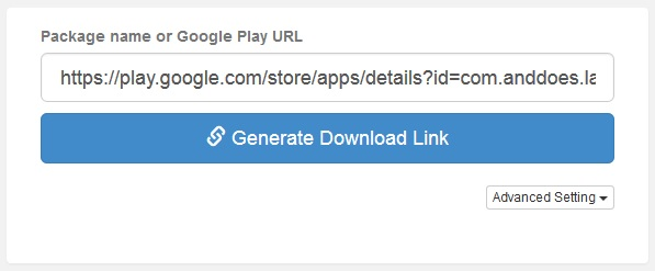Paste Google play store URL